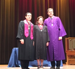 Mary Brush, Russell A. Davidson (2016 AIA National President), John Sorrenti (College of Fellows Chancellor)