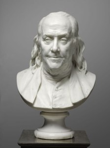 On loan for the exhibition: Jean-Antoine Houdon, bust of Benjamin Franklin, marble, 1779. Philadelphia Museum of Art Franklin was one of the signers of the Treaty of Paris in 1783.